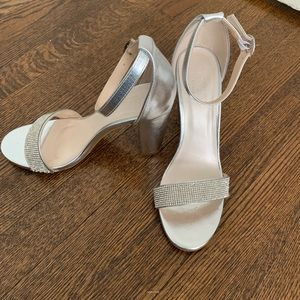811d27f1b David's Bridal Shoes | Crystalstrap Metallic Block Heel Sandals ...